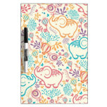 Elephants with bouquets pattern Dry-Erase whiteboard
