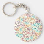 Elephants with bouquets pattern keychain