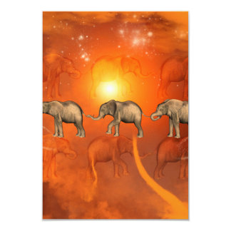 Elephants with light effects 3.5x5 paper invitation card