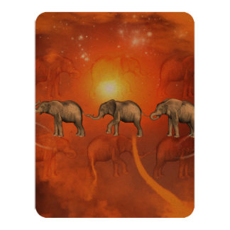 Elephants with light effects 4.25x5.5 paper invitation card