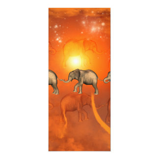 Elephants with light effects 4x9.25 paper invitation card