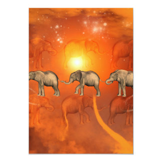 Elephants with light effects 5x7 paper invitation card