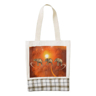 Elephants with light effects zazzle HEART tote bag