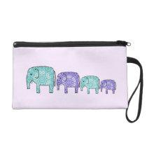 Elephants Wristlet Purse