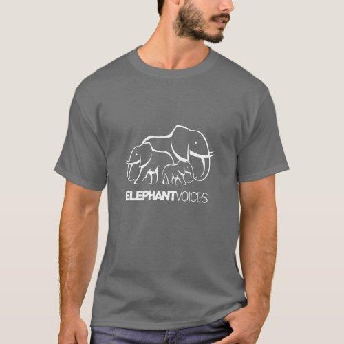 ElephantVoices White Logo Tee Dark Grey