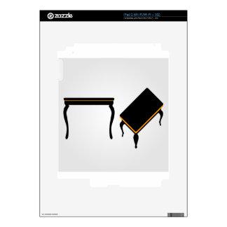 Elevación de madera moderna de la mesa de centro y skins para iPad 2