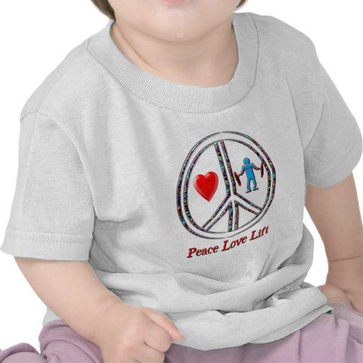 Elevación del amor de la paz camiseta