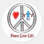 Elevación del amor de la paz pegatinas redondas