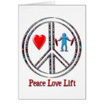 Elevación del amor de la paz tarjetón