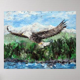 Elevación en las alas de Eagles - pintura de Eagle Póster
