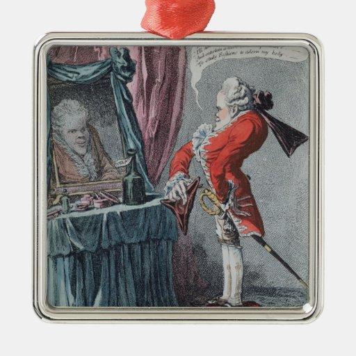 Elevación señorial, pub. por Hannah Humphrey, 1802 Adorno Navideño Cuadrado De Metal