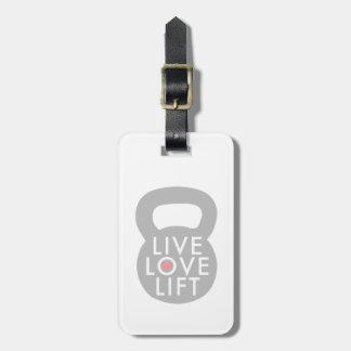 Elevación viva del amor en gris etiqueta para equipaje