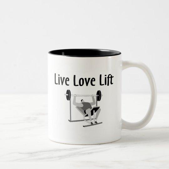 Elevación viva del amor taza de café de dos colores