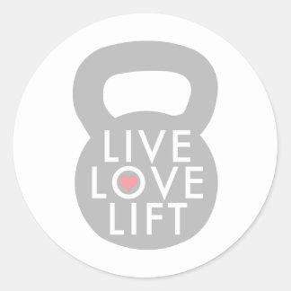 Elevación viva Kettlebell del amor Etiqueta Redonda