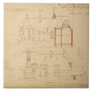 Elevaciones para la casa roja, brezo de Bexley (en Azulejo Cuadrado Grande