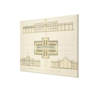 Elevaciones y plan de tierra de un invernadero, de impresión de lienzo