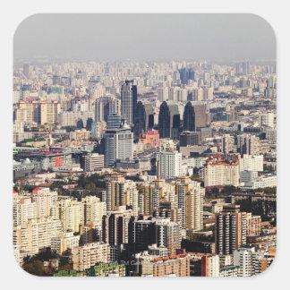 Elevated Beijing Cityscape Square Sticker
