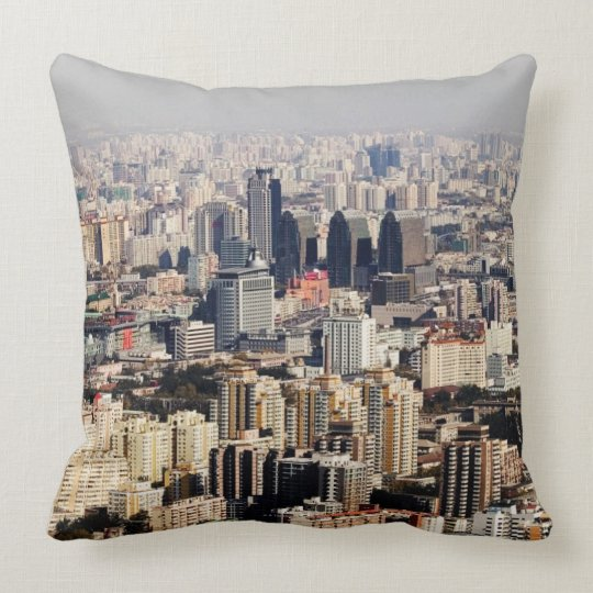 Elevated Beijing Cityscape Throw Pillow