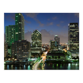 Elevated city skyline postcard