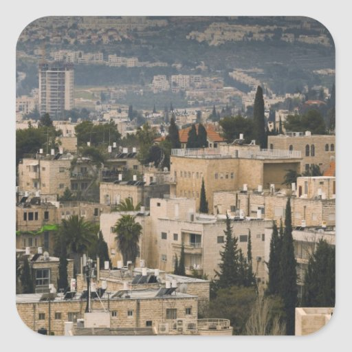 Elevated city view from Jerusalem YMCA tower Square Sticker