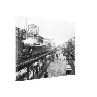 Elevated NYC Steam Train, Above The Bowery (1896) Canvas Print