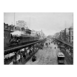 Elevated NYC Steam Train, Above The Bowery (1896) Poster