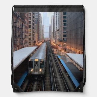 Elevated rail in downtown Chicago over Wabash Drawstring Backpack