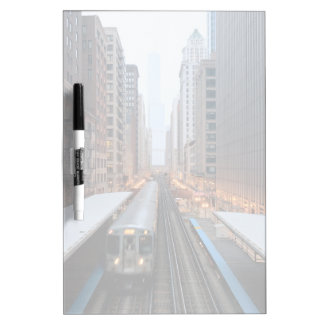 Elevated rail in downtown Chicago over Wabash Dry-Erase Board