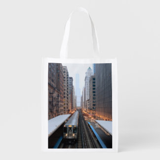 Elevated rail in downtown Chicago over Wabash Grocery Bag