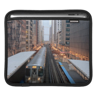 Elevated rail in downtown Chicago over Wabash iPad Sleeve