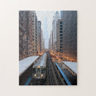 Elevated rail in downtown Chicago over Wabash Jigsaw Puzzle