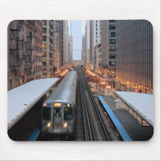 Elevated rail in downtown Chicago over Wabash Mouse Pad