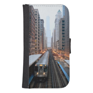Elevated rail in downtown Chicago over Wabash Phone Wallets