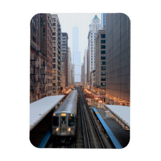 Elevated rail in downtown Chicago over Wabash Rectangle Magnets