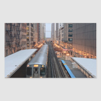 Elevated rail in downtown Chicago over Wabash Rectangular Sticker