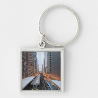 Elevated rail in downtown Chicago over Wabash Silver-Colored Square Keychain