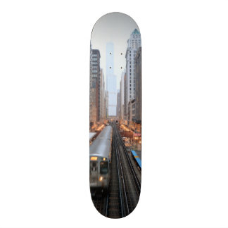Elevated rail in downtown Chicago over Wabash Skateboards