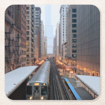 Elevated rail in downtown Chicago over Wabash Square Paper Coaster