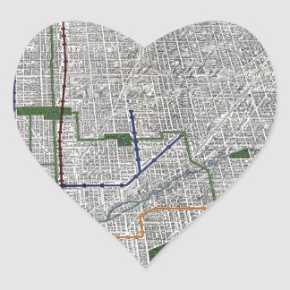 Elevated rails and the parks of Chicago 1908 Heart Sticker
