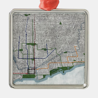 Elevated rails and the parks of Chicago 1908 Metal Ornament