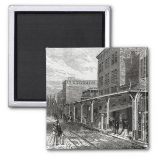 Elevated Railway in Greenwich Street, New York Magnet