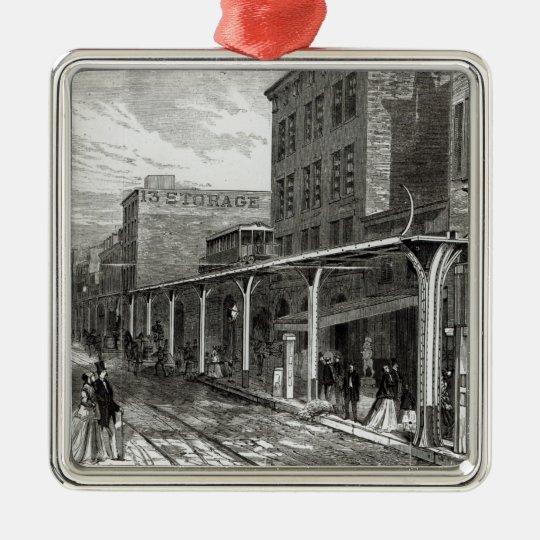 Elevated Railway in Greenwich Street, New York Metal Ornament