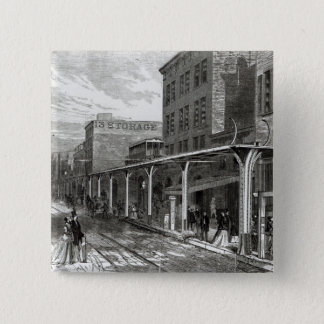Elevated Railway in Greenwich Street, New York Pinback Button