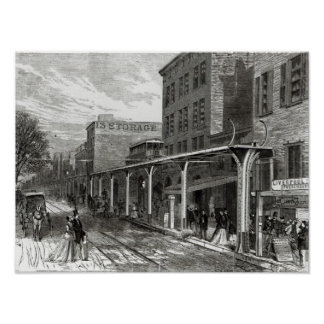 Elevated Railway in Greenwich Street, New York Poster