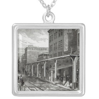 Elevated Railway in Greenwich Street, New York Silver Plated Necklace
