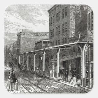 Elevated Railway in Greenwich Street, New York Square Sticker