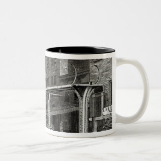 Elevated Railway in Greenwich Street, New York Two-Tone Coffee Mug