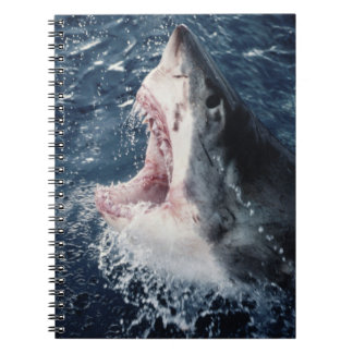 Elevated Shark mouth open Spiral Notebook