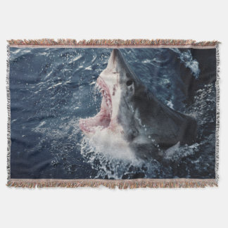 Elevated Shark mouth open Throw Blanket