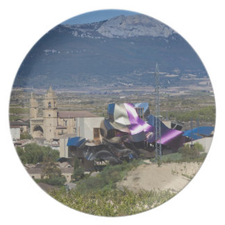 Elevated town view and Hotel Marques de Riscal 2 Party Plate
